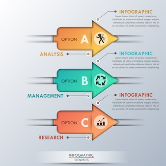 Moderne infografiken optionen banner mit 3 pfeilen