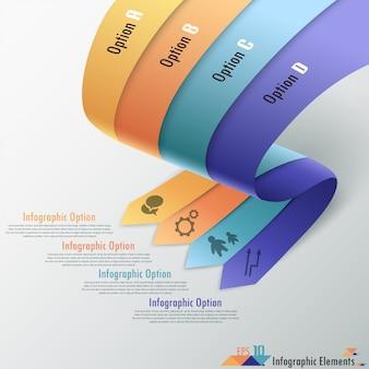 Moderne Infografiken Optionen Banner mit Bändern
