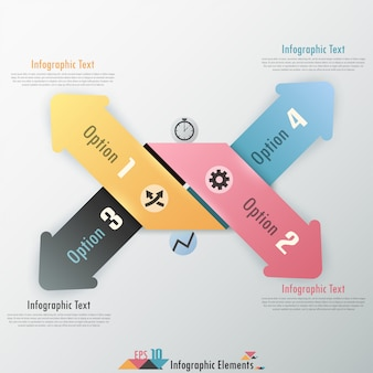 Moderne infografiken optionen banner mit papierpfeilen