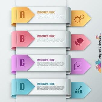 Moderne infografiken optionen banner mit pfeilen