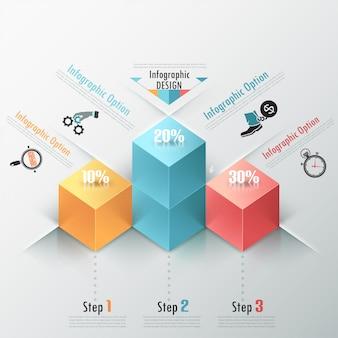 Moderne infografiken optionen banner mit würfel