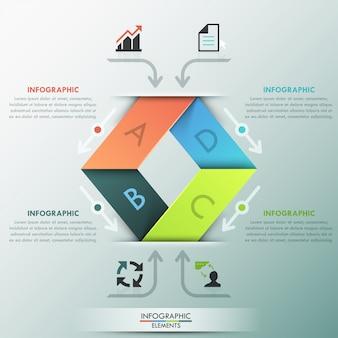 Moderne infografiken optionen farbband vorlage
