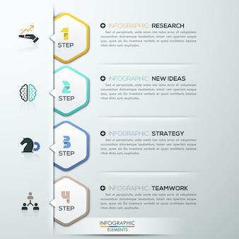 Moderne infografiken optionen vorlage mit 4 papierpolygonen