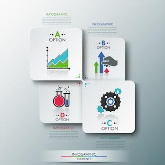 Moderne infografiken optionen vorlage mit papierbogen