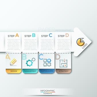 Moderne infografiken optionen vorlage mit papierpfeilen