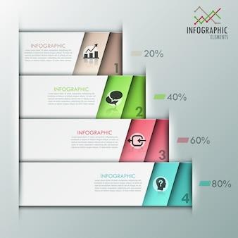 Moderne infografiken optionen vorlage papierblätter