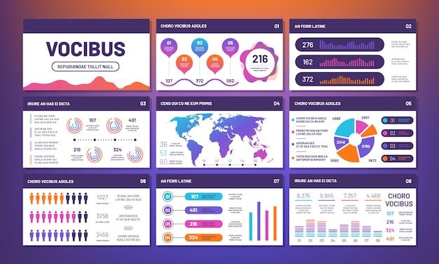 Moderne infografiken präsentationsschablonenvektor.