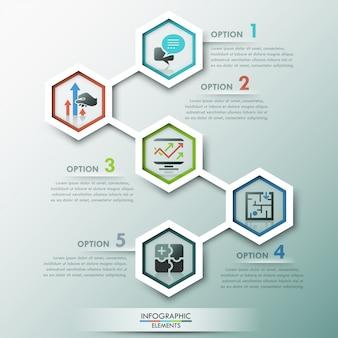 Moderne infografiken-prozessvorlage mit 5 papierpolygonen
