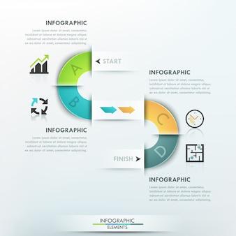 Moderne infografiken prozessvorlage mit band