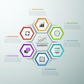 Moderne infografiken-prozessvorlage mit polygonen