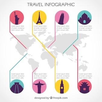 Moderne infografiken reisen mit denkmälern in bunten kreisen