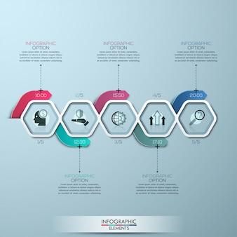 Moderne infografiken verarbeiten vorlage mit papierpolygonen und pfeilen