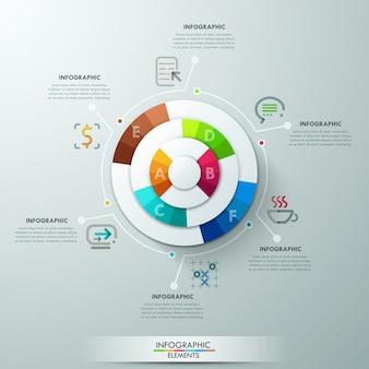 Moderne infografiken vorlage mit papierpyramide