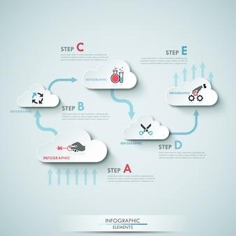 Moderne infografiken wolke prozessvorlage