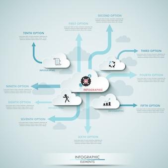 Moderne infografiken wolke vorlage