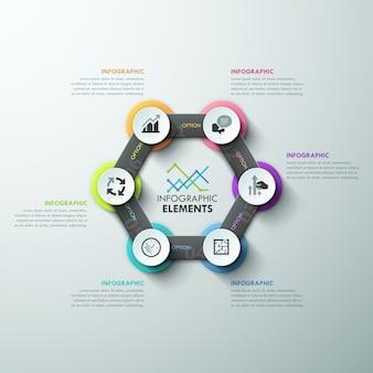 Moderne infografiken zyklusvorlage mit bändern