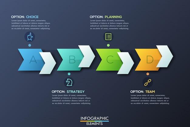 Moderne infographic designschablone mit dem recht, das pfeile und textboxen zeigt