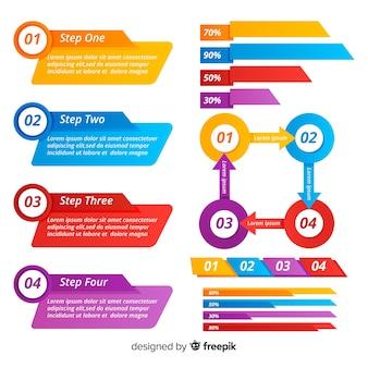 Moderne infographic elementsammlung mit flachem design