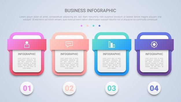 Moderne infographic schablone 3d für geschäft mit vier schritten mehrfarben
