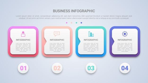 Moderne infographic schablone 3d für geschäft mit vier schritten