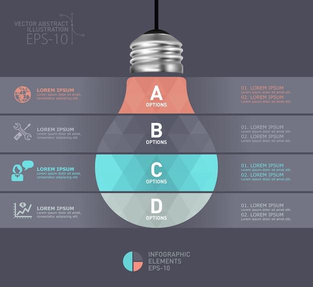 Moderne infographic schablone der glühlampe