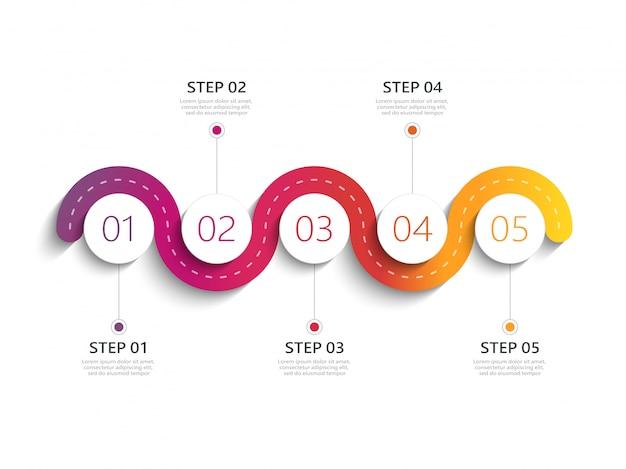 Moderne infographic schablone der kurvenreichen straße mit einer stufenweisen struktur