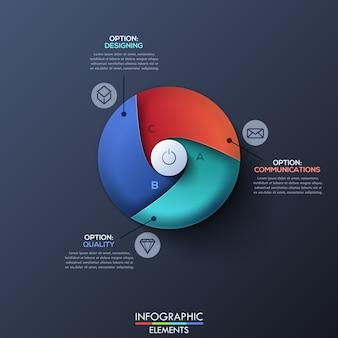 Moderne infographic schablone mit geteiltem kreis