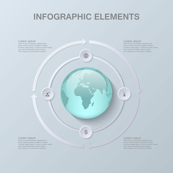 Moderne infographic schablone mit kugel 3d