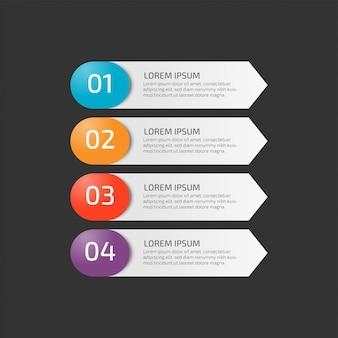 Moderne infographic schablone mit schritten für geschäft
