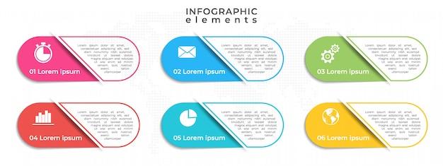 Moderne infographik elemente vorlage 6 optionen.