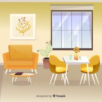 Moderne inneneinrichtung mit flachem design