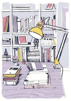 Moderne innenheimbibliothek, bücherregale, handgezeichnete bunte skizzenillustration.