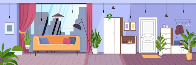 Moderne innenwohnung des wohnzimmers mit horizontalen panoramafenstern