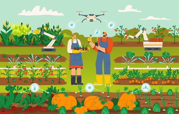 Moderne intelligente landwirtschaft mit drohnen- und roboterkonzept