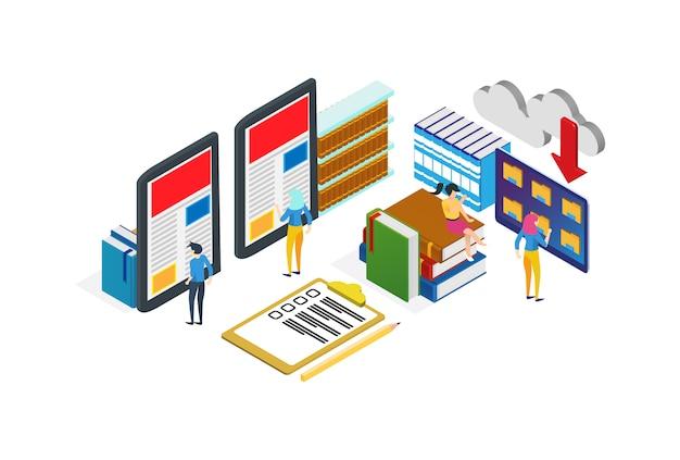 Moderne isometrische digitale bibliotheksillustration