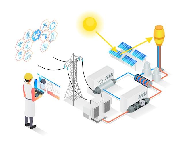 Moderne isometrische illustration über die regelmäßige inspektion des solarpanel-umspannwerkszentrums