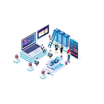 Moderne isometrische internet-geschwindigkeitstechnologie zur entwicklung der kommunikationstechnologie