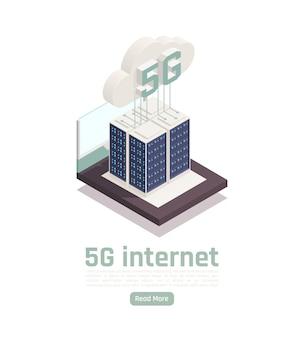 Moderne isometrische zusammensetzung der internet-5g-kommunikationstechnologie mit bearbeitbarem text, anklickbarer schaltfläche und konzeptionellem technologiebanner