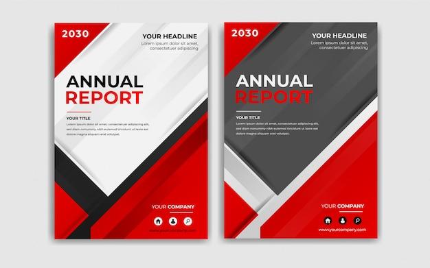 Moderne jahresberichtabdeckungsdesignkollektion in der roten farbe