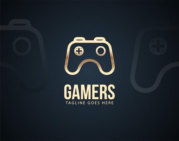 Moderne joystick-design-logo-schablone mit goldenen farbeffekten