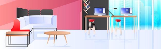 Moderne kabinett innen kreative coworking center keine menschen offenen raum büroraum mit möbeln horizontal