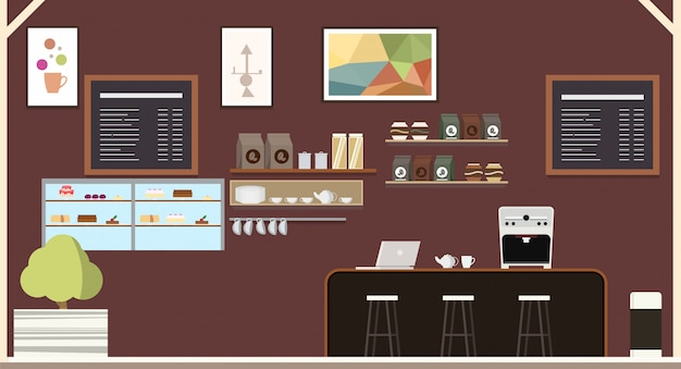 Moderne kaffeehaus-kaffeestube-innenarchitektur