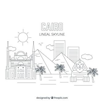 Moderne kairo-skyline mit linearer art