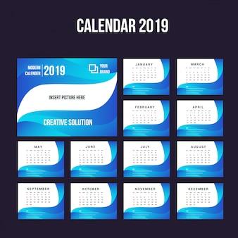 Moderne kalenderhintergrundsammlung 2019