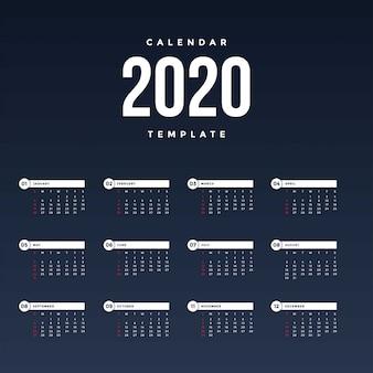 Moderne kalendervorlage 2020