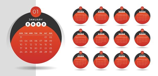 Moderne kalendervorlage für das neue jahr