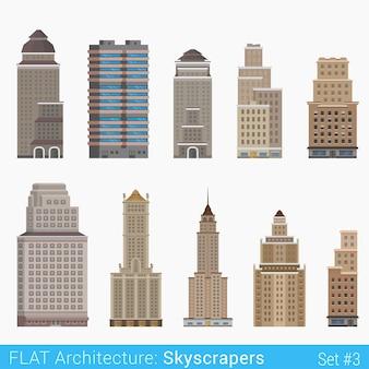 Moderne klassische gebäude wolkenkratzer setzen stadtelemente stilvolle architekturkollektion