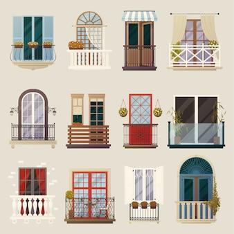 Moderne klassische weinlese-balkon-element-sammlung