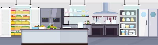 Moderne kommerzielle restaurantküche innenraum mit gesunden lebensmitteln obst und gemüse kochen und kulinarischen konzept leer keine menschen horizontale banner flach
