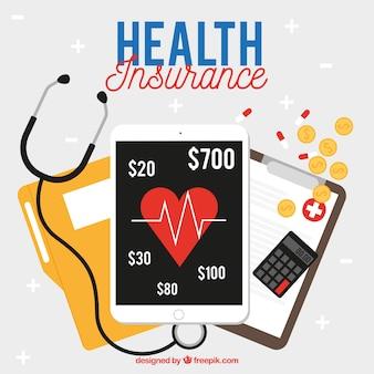 Moderne komposition mit krankenversicherungselementen